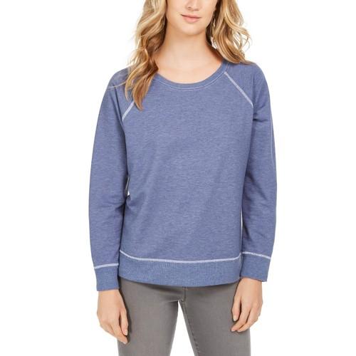 Style & Co Women's Contrast-Stitched Sweatshirt Blue Size Large