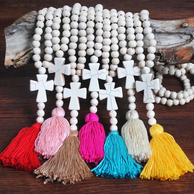 Long Women's Handmade Beaded Tassel Cross Sweater Chain