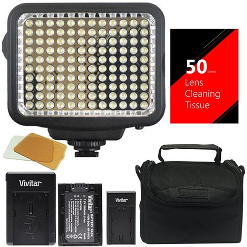 Vivitar VL-900 120 LED Light Panel for Camera/Camcorder  + 50 Lens Tissue + Case