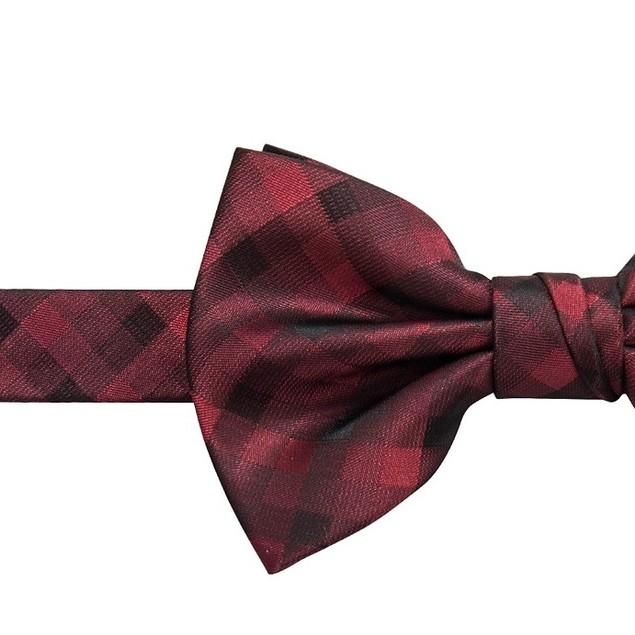 Ryan Seacrest Distinction Men's Aster Check Bow Tie  Red Size Regular