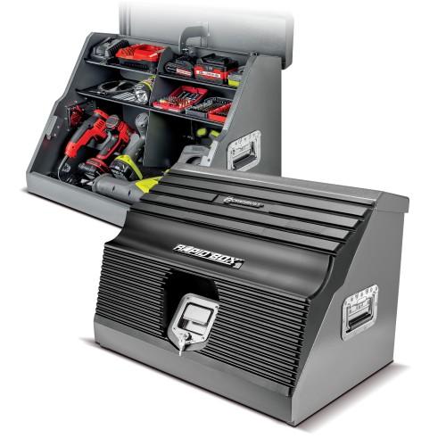 26 in. Rapid Box Portable Slant Front Power Tool Locker Box - Grey