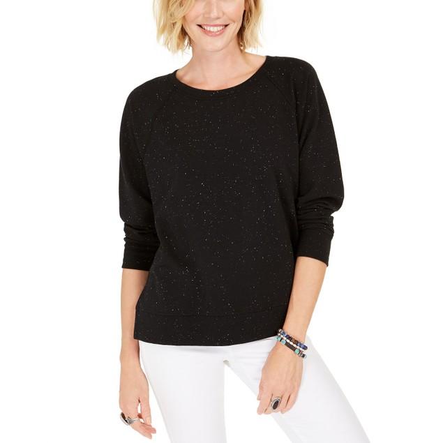 Style & Co Women's Speckled Sweatshirt Black Size X-Large