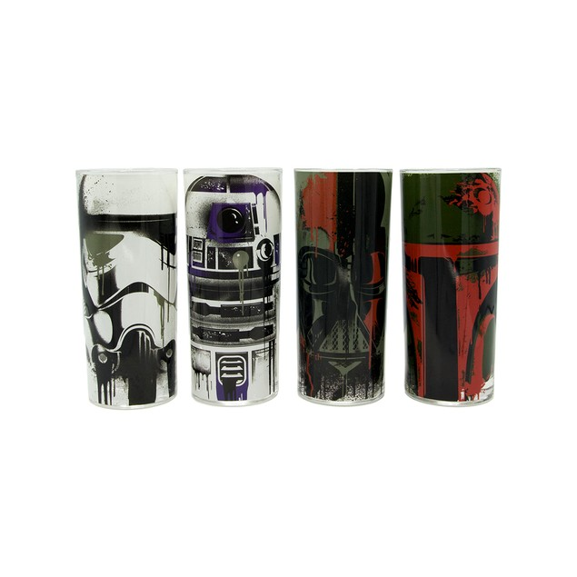 Star Wars Grunge Faces 4-Piece 10oz Colored Glass Tumbler Set