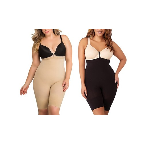 ToBeInStyle Women's High Mid-Thigh Body Shaper With Instant Bra Fasteners