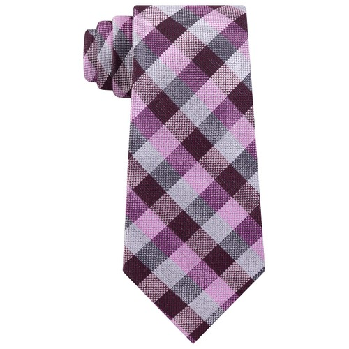 Michael Kors Men's Classic Gingham Check Tie Pink Size Regular