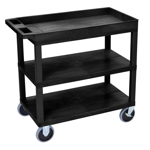 """Luxor 18"""" x 32"""" Top Tub and Two Flat Shelves Heavy - Duty Cart - Black"""