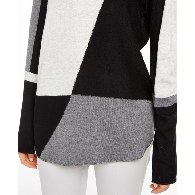 INC International Concepts Women's Colorblocked Sweater Gray Size XX-Large