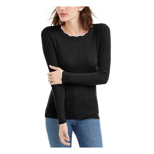 Maison Jules Women's Ribbed Sweater Black Size Medium