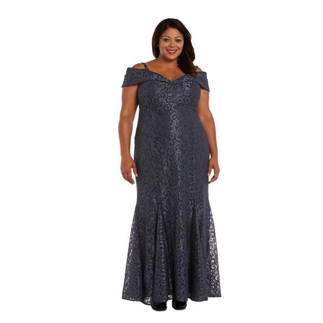 R & M Richards Cold-Shoulder Glitter Lace Gown Sheath Dress, 22 +,  Steel