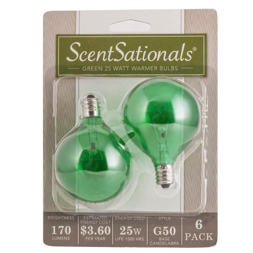 Scentsationals 25 Watt Replacement Light Bulb for Wax Warmer, Green -6 Pack