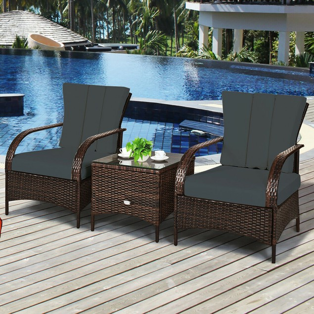 Costway 3 PCS Patio Rattan Furniture Set Coffee Table & 2 Rattan Chair W/Gr