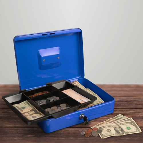 Cash Box  Locking Petty Cash Safe with Removable 5 Slot Coin Tray