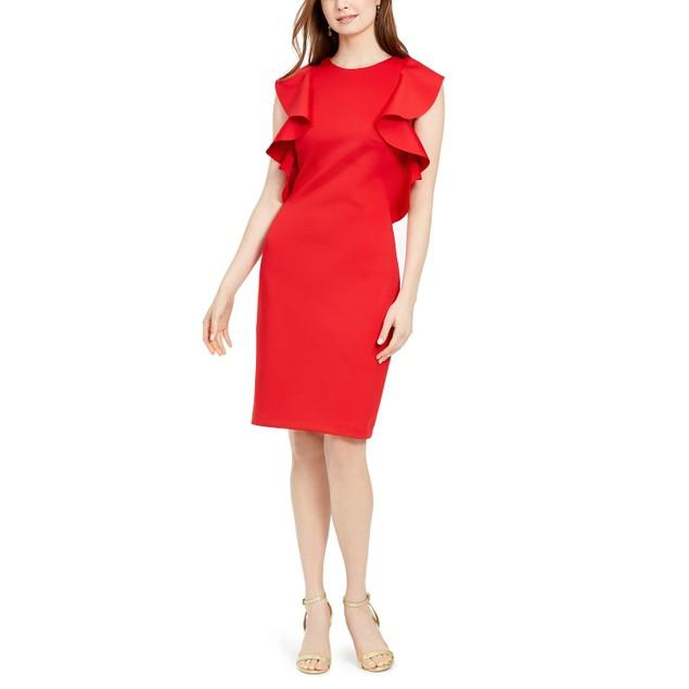 Vince Camuto Women's Ruffled Sheath Dress Red Size 14