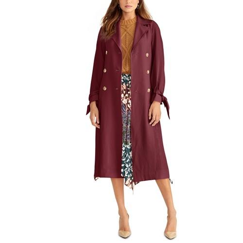 Rachel Roy Women's Tie-Sleeve Trench Coat Wine Size Medium