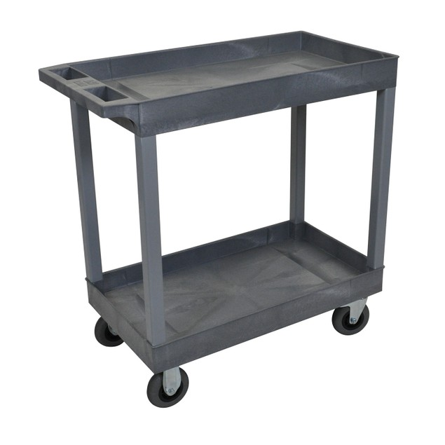 """Luxor 18"""" x 32"""" Top Two Tub Shelves Cart with SP5 Casters, Gray"""