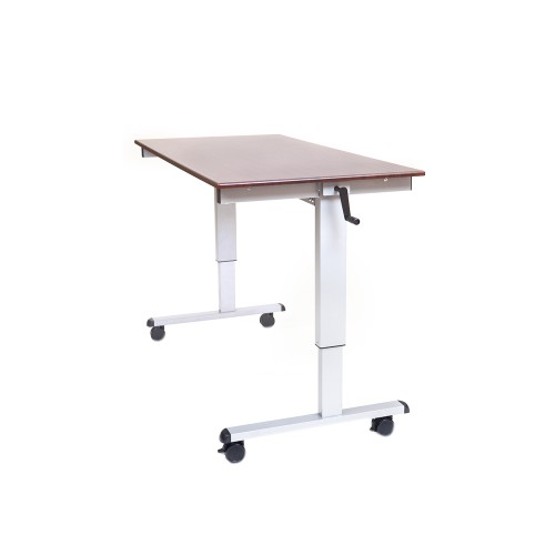 "60"" High Speed Crank Adjustable Desk - Silver/Dark Walnut"