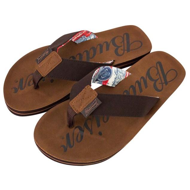 Budweiser Script Logo Men's Brown Sandals