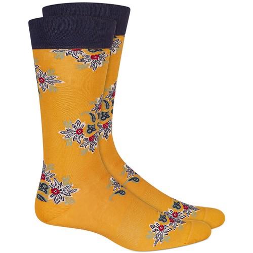 Bar III Men's Floral Socks  Yellow Size Regular