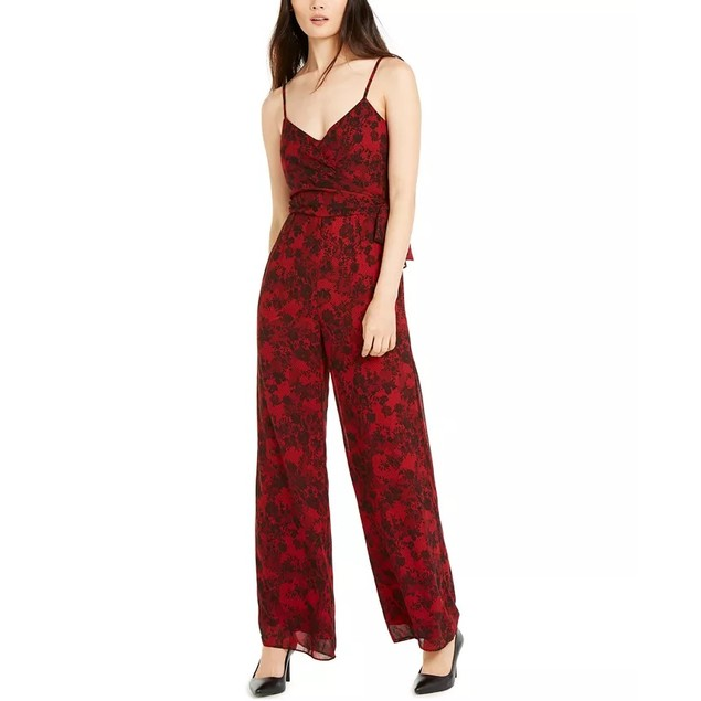 Michael Kors Women's Red Floral Spaghetti Strap Jumpsuit Red Size Small