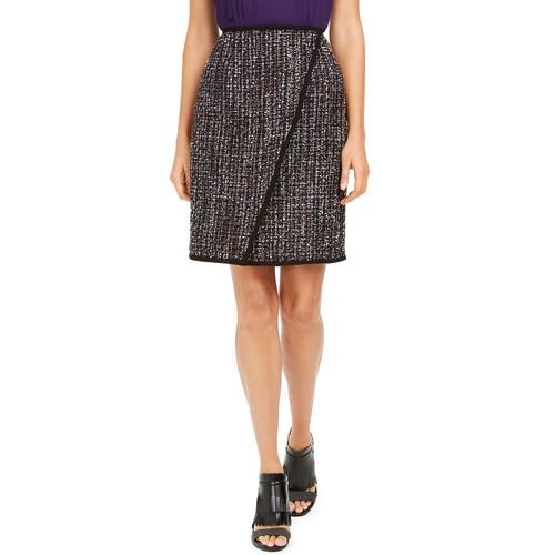Calvin Klein Women's Tweed Front-Overlap Skirt Black Size 6