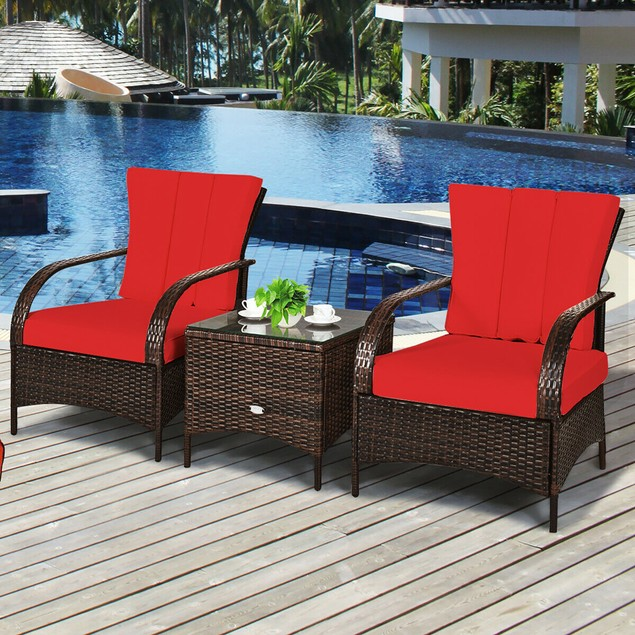 Costway 3 PCS Patio Rattan Furniture Set Coffee Table & 2 Rattan Chair W/Re