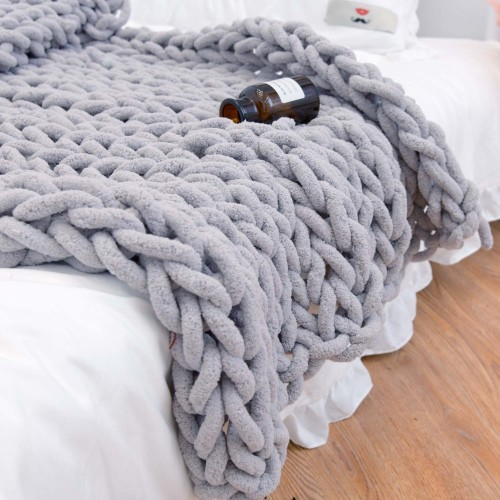 Chunky Knitted Handmade Blanket for Bed Chair Sofa Home Decor