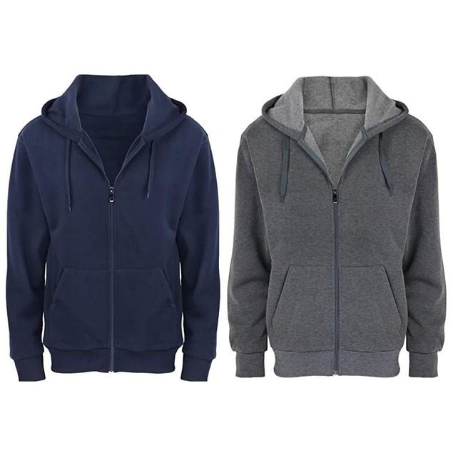 2-Pack Men's Fleece Cotton-Blend Full Zip Hoodie