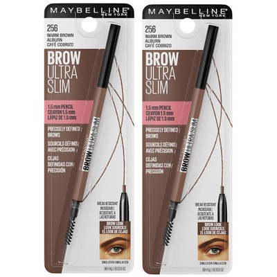 Maybelline Brow Ultra Slim 1.5mm Pencil Warm Brown Auburn (Pack of 2)