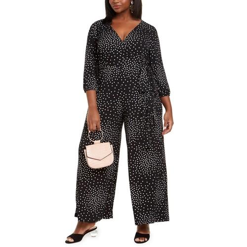 Taylor Women's Plus Polka Dot Jumpsuit Black Size 22W