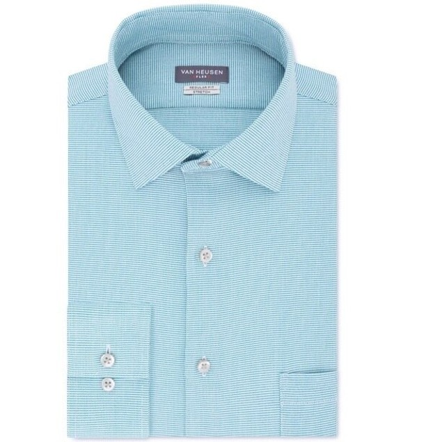 Van Heusen Men's Stretch Flex Collar Solid Dress Shirt Blue Size 18-34-35