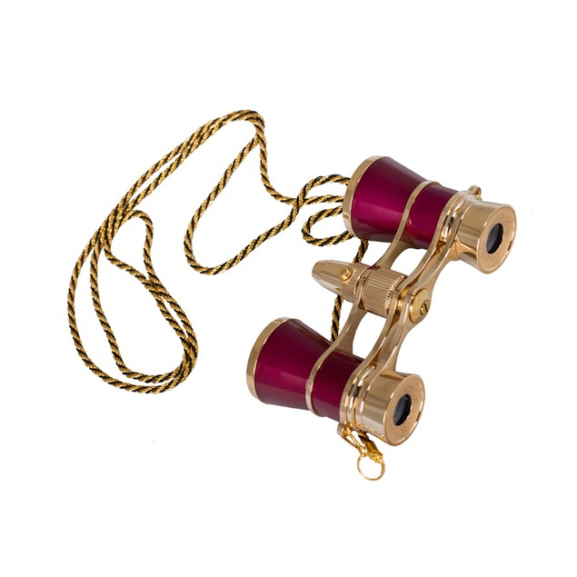 Levenhuk Broadway 325F Opera Glasses with LED Light And Chain - Red