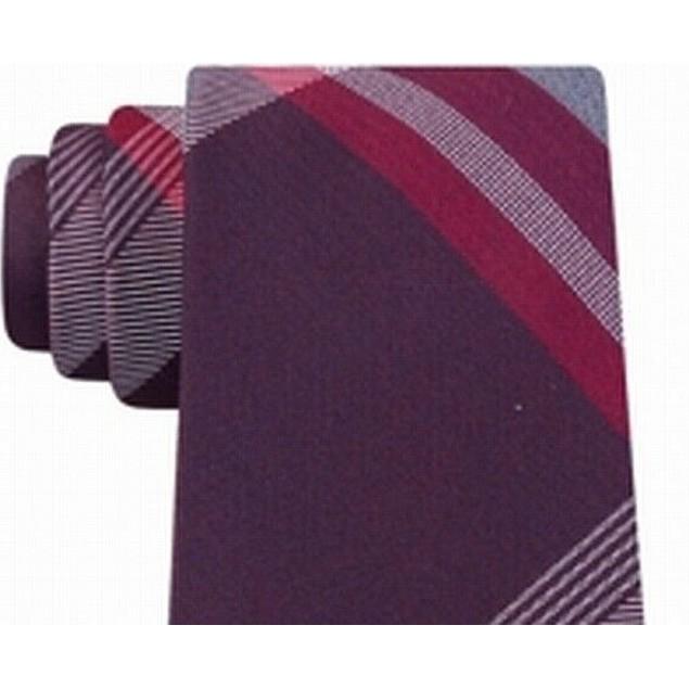 Kenneth Cole Reaction Men's Parkway Slim Plaid Tie Red Size Regular
