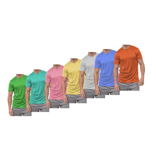 5-Pack: Men's Active Moisture Wicking Dry Fit Crew Neck Shirts
