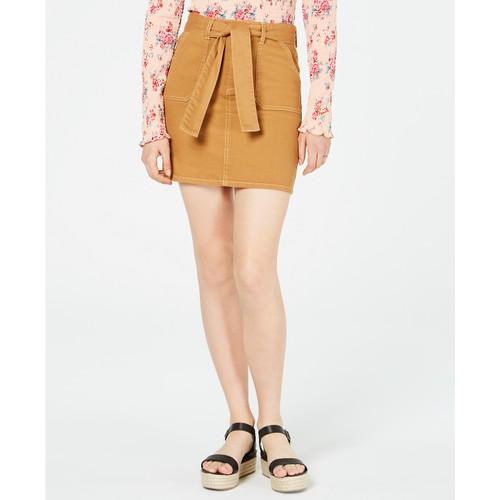 Tinseltown Juniors'  Front-Pocket Belted Skirt Dark yellow Size 7