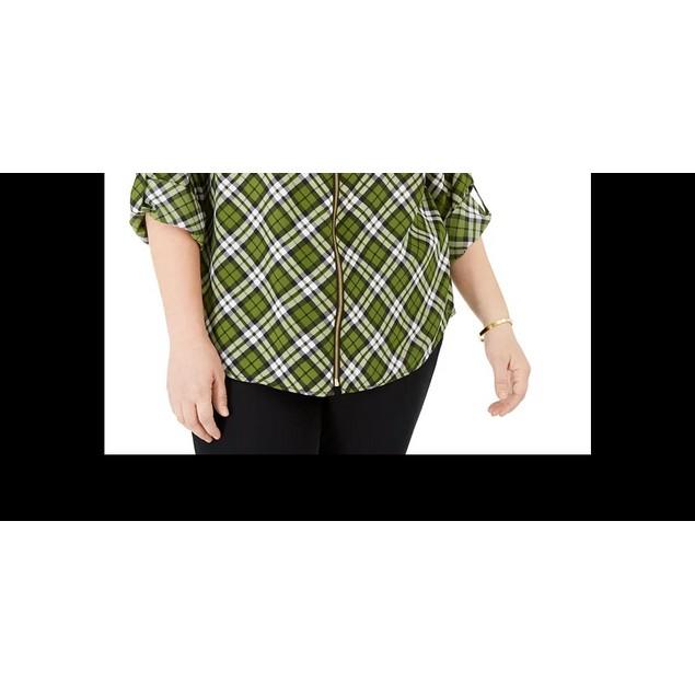 Michael Kors Women's Plus Bias Plaid Dog Tag Shirt Green Size 1X