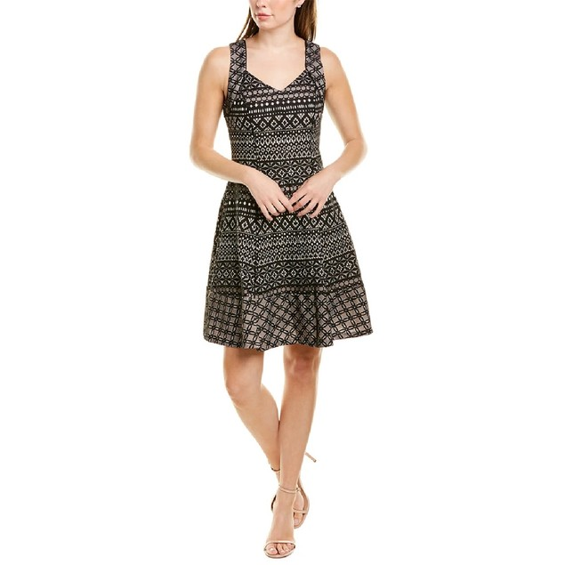 Donna Ricco Women's Printed Fit & Flare Dress Black Size 14