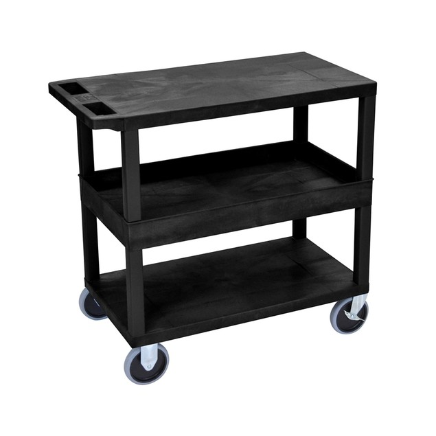 """Luxor 18"""" x 32"""" Top/Bottom and Middle Tub Shelves Heavy - Duty Cart - Black"""