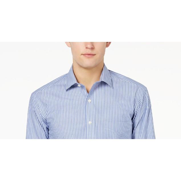 Club Room Men's Regular Fit Stripe Dress Shirt Blue Size 17x32-33