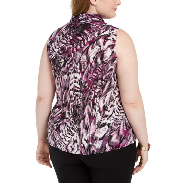 Bar III Women's Trendy Plus Size Printed Tie-Neck Top Bright Pink Size 1X