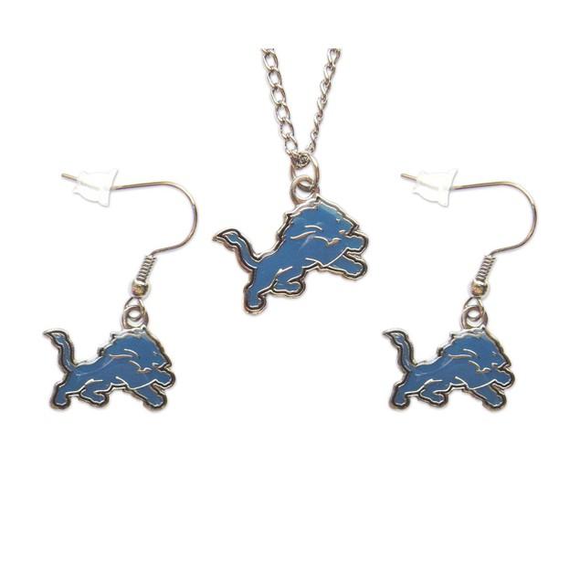 Detroit Lions Necklace and Dangle Earring Charm Set