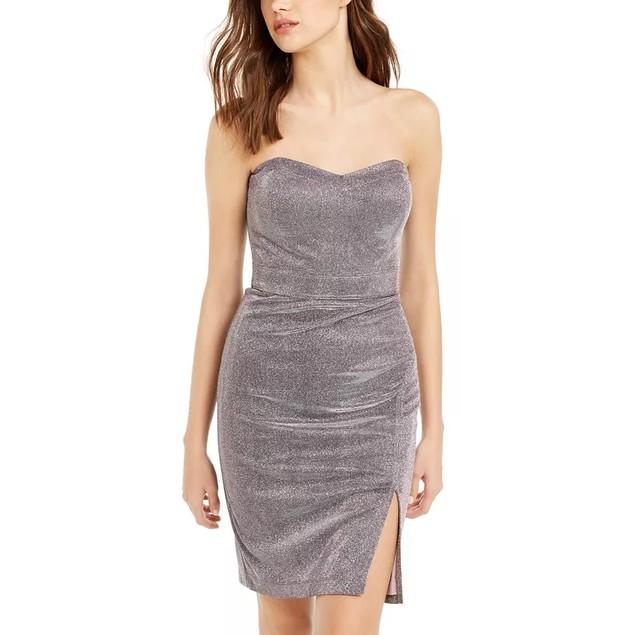 Teeze Me Juniors' Glitter Strapless Dress Purple Size 11