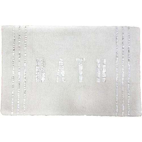 Spura Home Indian Cotton Silver foil Label Gray Bath Mat 21x32