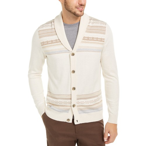Tasso Elba Men's Geo-Stripe Intarsia-Knit Cardigan White Size Medium
