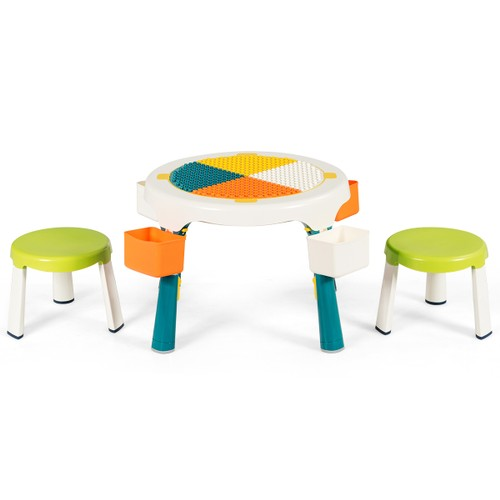 Costway 5-in-1 Kids Activity Table Chair Set Folding Building Block Table w
