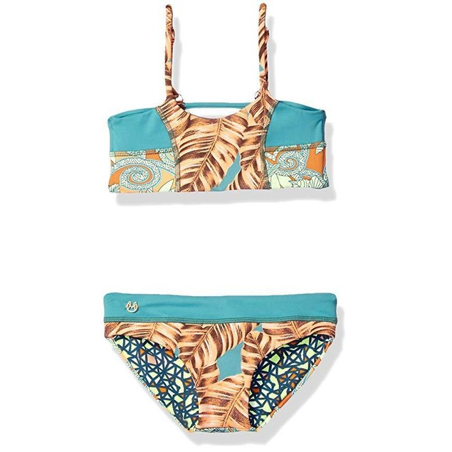 Maaji Big Girls' Shamrock Cream Hot to Trot Bikini, Dark Green, Sz: 14