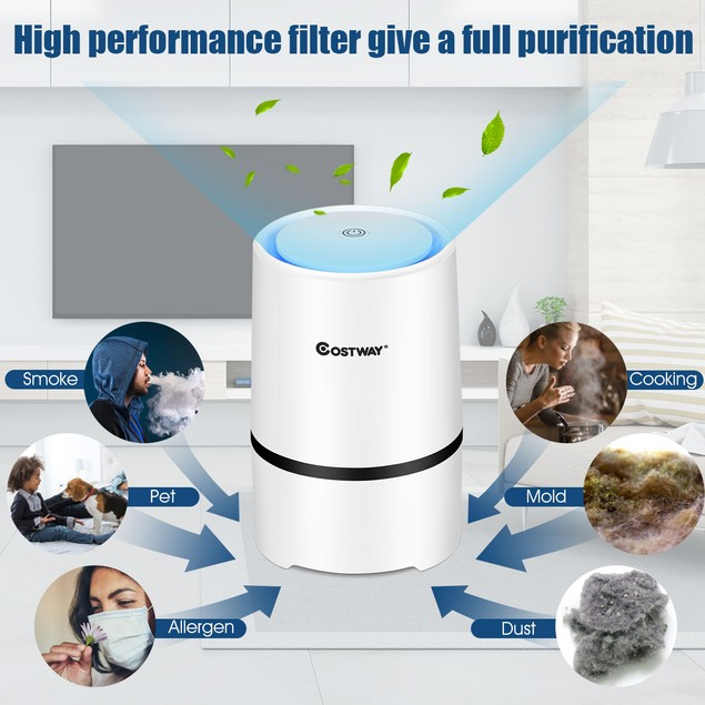 Costway Mini Ionic HEPA Air Purifier with 3-Stage Filtration