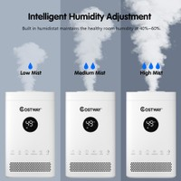 Costway 3.5L Quiet Top Fill Air Humidifier w/ 3-Level Mist