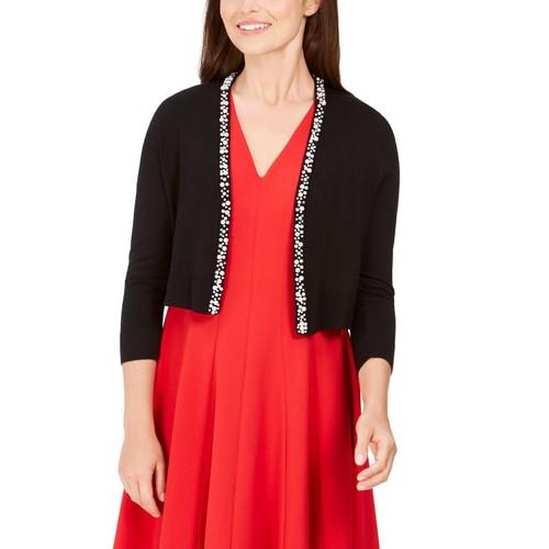 Calvin Klein Women's Imitation Pearl-Trim Shrug Cardigan Black Size Medium