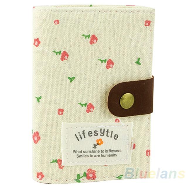 Pastoral Style 20 Slots Floral Credit ID Bank Card Holder