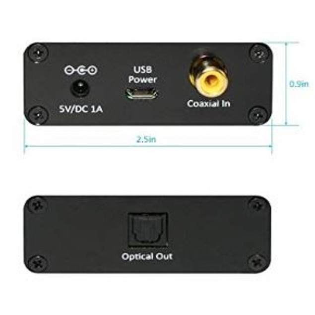 Coaxial To Toslink Digital Audio Converter, Support PCM & Bitstream